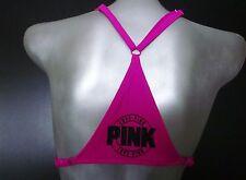 Nwt Victorias Secret PINK Sassy Berry Racerback Logo Push Up Bikini Top M A-C