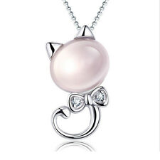 Kitten Powder Crystal Pendant Necklace Diamond Bow Furong Stone Cat Pendant