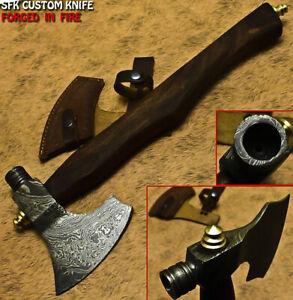 SFK Handmade Damascus Steel Walnut Wood Hunting Axe Knife With Pipe