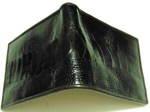 Gents GENUINE OSTRICH SKIN Bi-Fold Wallet, Handmade, CHOCOLATE BROWN as BLACK