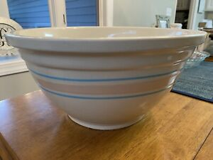 Vintage Large McCoy USA Oven Ware #14 Mixing Bowl Pink Blue Stripes Yellow Ware