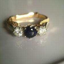 18ct Gold Sapphire & Diamond Trilogy Ring - Size N - Inc Valuation Certificate