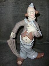 "Porcelain Clown with Umbrella Figurine Lladro like colors 1977 12"" Antk D Mold"