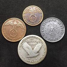 Silver Standing Liberty Quarter Nazi Germany Zinc & Bronze Third Reich Coin Lot