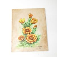 Vintage 1976 Signed Still Life Oil Painting Yellow Flowers 70's