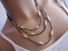 Damen Collier Damen Halskette Modekette  Band Tricolor Perlen Schwarz Edelstahl