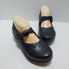 Dansko Clogs Dark Brown Leather Mary Janes Size 37 Knot Comfort Shoes