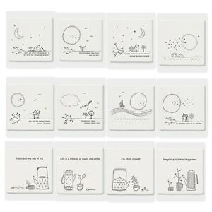 East of India White Ceramic Square Coaster 10x10cm with Choice of Sayings