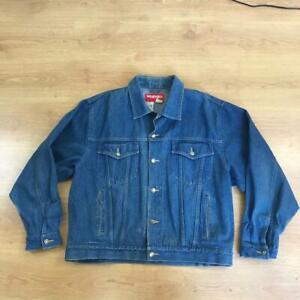 Wrangler Hero Mid Blue Vintage Denim Jacket XL Boxy Fit Stonewash