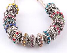 10pcs Mix silver CZ big hole spacer beads fit Charm European Bracelet DIY HX914