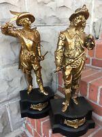 Finest Pair Ansonia Gilbert Waterbury Don Juan Don Caesar Spelter Clock Statue