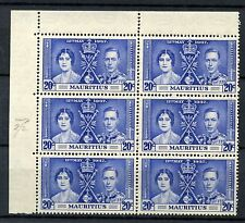Mauritius 1937 SG#251a 20c Coronation Line Through Sword Variety MNH Block#52035