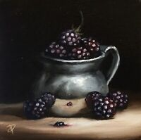 Jane Palmer Art original Still Life oil painting Framed, Silver Cup With Berries