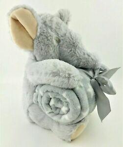 "Silver One Plush Elephant & Blanket 2 pc Gift Set with 30""x40"" Throw Blanket"