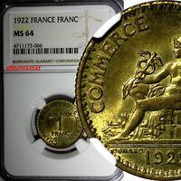 FRANCE Aluminum-Bronze 1922 1 Franc NGC MS64 Chamber of Commerce KM# 876