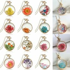 Natural Locket Dried Real Flowers Resin Charms Pendant Necklace Jewelry Gift New