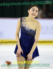 Ice skating dress.Dark Blue 2017 Figure Skating Baton Twirling Costume