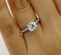 1.50 Ct 14K White Gold Round Engagement Wedding Bridal Propose Promise Ring