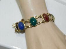 "14k Gold filled Green Agate Onyx Carnelian Large Scarab 7.5"" Bracelet 1a 104"