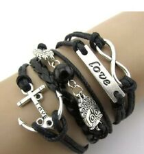 Exquisite Infinity, Owl, Love and Anchor Friendship Leather Bracelet