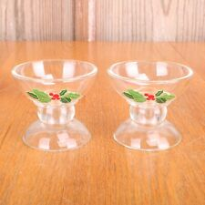 2 Clear Glass Holly & Berry Leaves Votive Candle Holders Avon