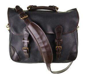 Mulholland Black Brown Pebble Grain Leather Briefcase Messenger Portfolio Bag