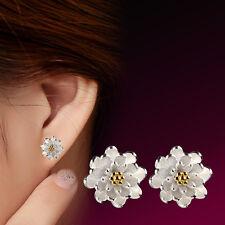 925 Silver Earrings gold flowers Ear Stud women's fashion jewelry wholesale