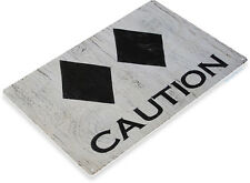 TIN SIGN B290 Caution Double Diamond Tin Metal Sign Ski Skiing Slopes Lodge