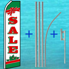 SALE CHRISTMAS FLUTTER FLAG + POLE MOUNT KIT Tall Feather Swooper Banner Sign