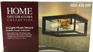 Home Decorators 2-Light Flush Mount Ceiling Light Walden Forge Black Frame