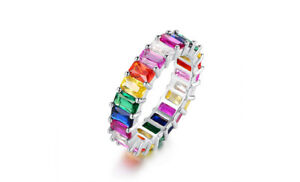 Emerald Cut Cubic Zirconia Eternity Bands in 18K White Gold Plating - 3 Colors
