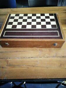 ancien grand jeu de Backgammon Baggamon/ Dames en BOIS 51 x 32 cm