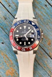 20mm WHITE Vulcanized Flared Rubber Strap For Rolex Ceramic Watch GMT 126710