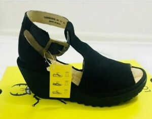 FLY London Yehi882fly Black Perforated Leather T Strap Wedge Eur 36/US 5.5-6