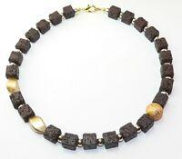 Halskette Würfelkette Kette Würfel Cube Lava braun dunkelbraun eyecatcher   366c