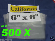 Lot of 500 Pieces Heat Shrink Wrap Film Flat Bags 6x6 Candles PVC 6