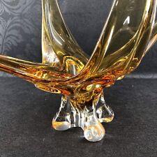 "20"" Large Yellow Chalet Lorraine 4 Arm Spread Art Glass Bowl Vase Canada"