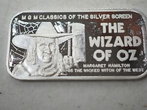 1974 Silver Mint MGM Wizard of Oz The Witch 20 g Silver Art Bar #2