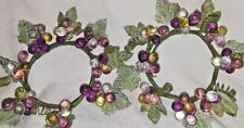 Pair of Vintage Acrylic Grape Cluster Vine Candle Wreath Rings - Colorful
