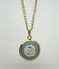 Vintage Wedgwood Blue Jasperware Round Gold Plated Gp Pendant Necklace