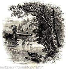 Antique print Sweden Dalsland  The Aqueduct and the Dalsland Canal