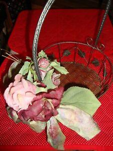 Vintage Metal & Wicker Basket w/Handle ~Red Pink Roses w/Pink Glitter Ribbon 339