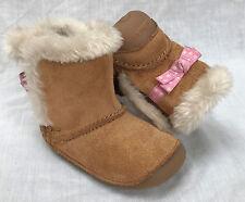 Clarks Girls Pre-school Little Snug Leather BOOTS in Tan Wide Fit Size 2