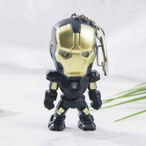 Avengers Iron Man Schlüsselanhänger LED Weiß Lampe und Sound Blau/Gold