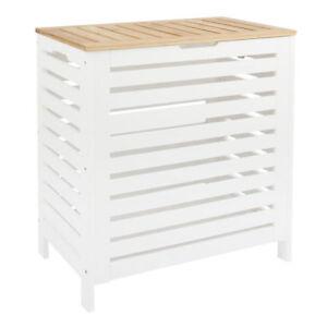 Large Laundry Bin Basket White Wood Rectangle Hamper Bathroom Bedroom Lid UK Dis