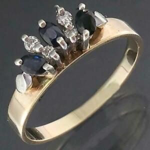 Classic Curved DIAMOND SAPPHIRE 9k Solid Yellow GOLD ETERNITY RING Sz M