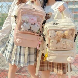 Lolita Transparent Clear Itabag Backpack Shoulders Bag Women Harajuku Doll Show