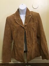WILSONS LEATHER Maxima Women's Brown Tan Button Up Suede Leather Jacket Sz S