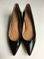 NWOB Corso Como Black Patent Leather Pointy Toe Wedge Sandals Size 8M