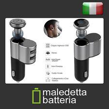 Auricolare Bluetooth + Carica Batterie Auto 2 ingressi USB Smartphone Tablet (Q)